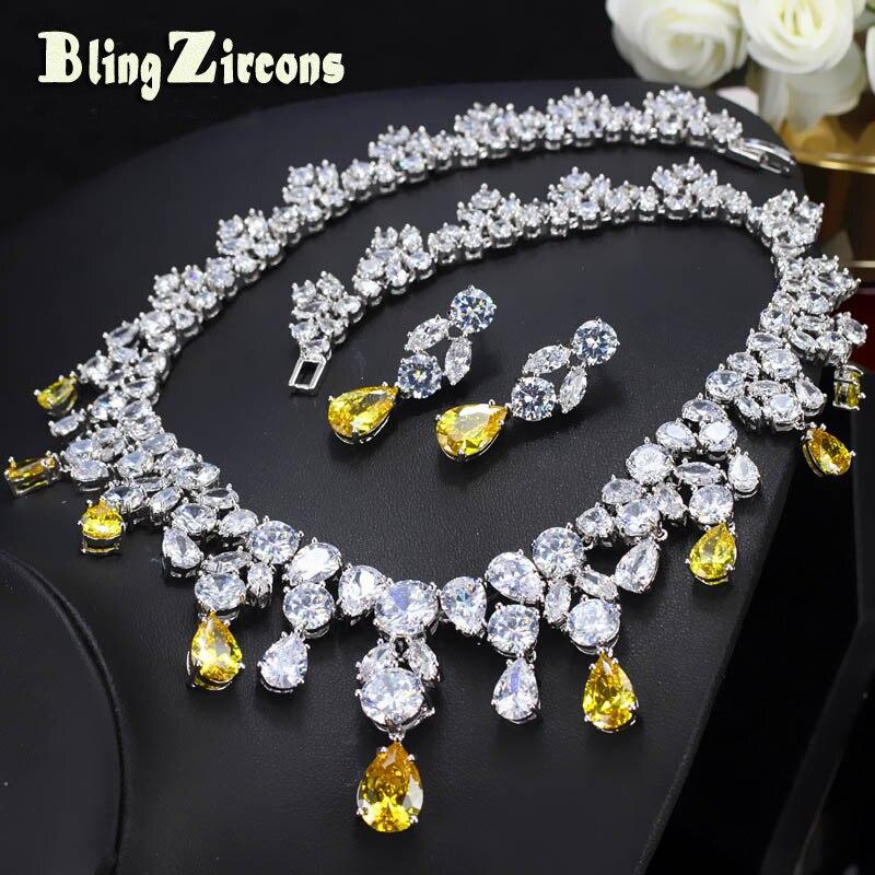 BlingZircons Luxueux Africain Cubique Zircone Perles Jewelry Set Mariage Nigériane Jaune De Mariée Bijoux Ensembles Pour Femmes JS091