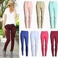 Nova Moda Mulheres Meninas Do Vintage Clássico De Cintura Alta Doce Cor Calças Skinny Lápis Denim Calças Jeans Jeggings