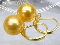 手作りの素敵なビーズaペアの8-9ミリメートル天然南洋ゴールド真珠のイヤリング
