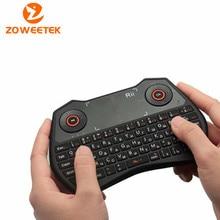 Original Rii Mini i28 ruso del teclado 2.4 GHz inalámbrico teclado retroiluminado con Air Mouse Touchpad para la PC Android TV Box