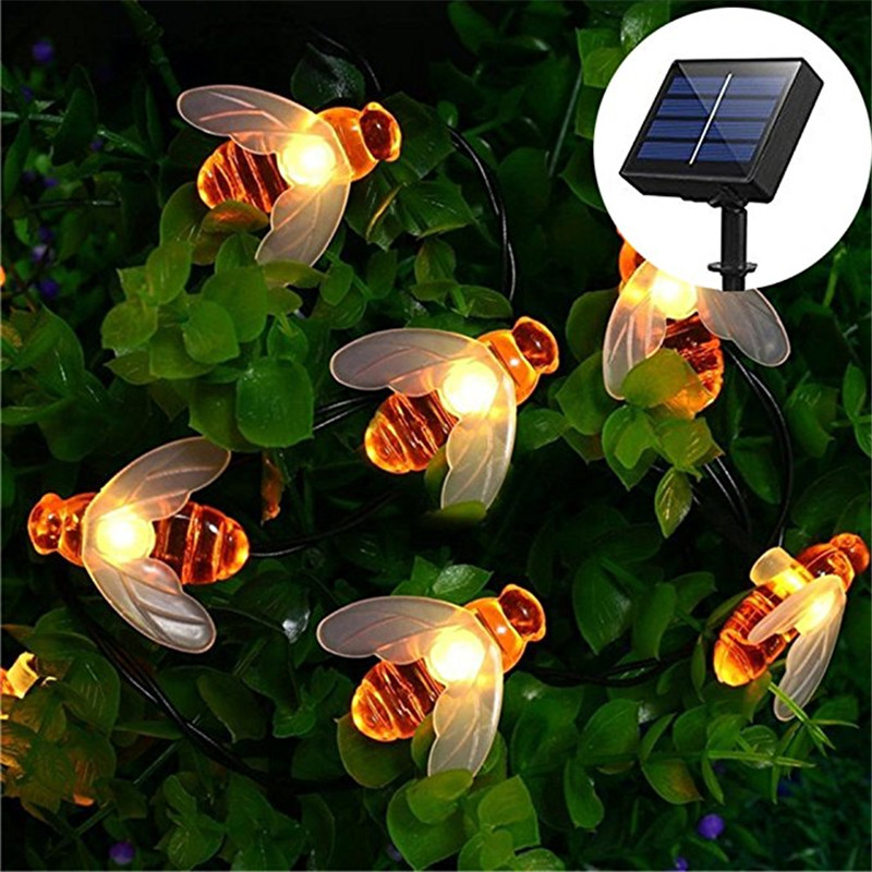 2018 Hot 5M 20 LED Solar Powered Bee String light Fairy String Outdoor Garden Lights lamp Holiday Festival Party Christmas Decor solar powered 0 64w 10lm 200 led blue light garden christmas party string fairy light blue 20 5m