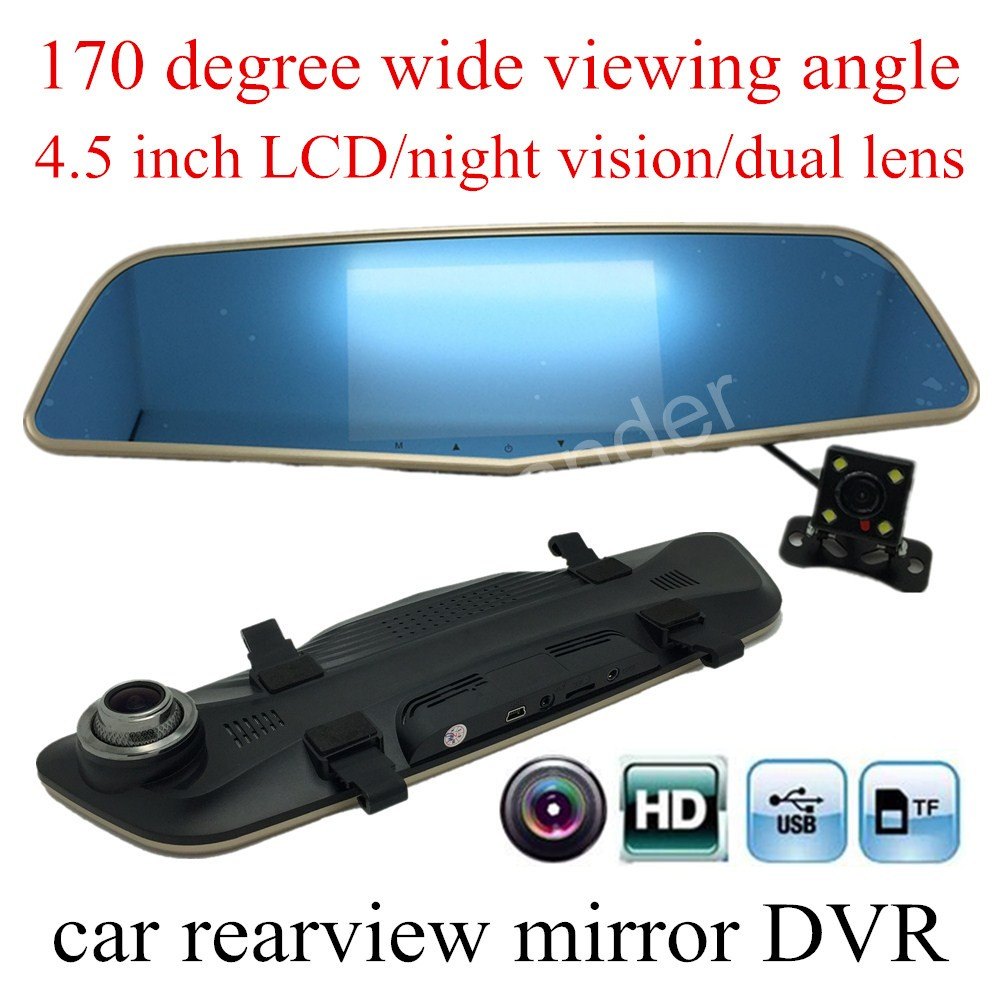 цена на factory price dual lens 4.5 inch TFT LCD Full HD 170 Degree wide viewing angle Car DVR Camera Video Recorder Rearview Mirror