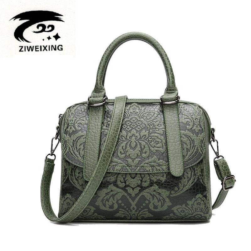 Embossed Floral Pattern Women Handbag Vintage Messenger Bags Ladies Designer High Quality Leather Shoulder Bag Casual Tote Sac