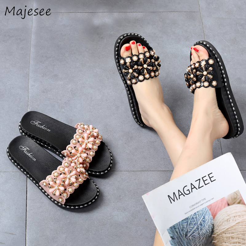 Summer Slippers Women Trendy Flat with Casual String Bead Outdoor Vacation Womens All-match Elegant Non-slip High Quality FemaleSummer Slippers Women Trendy Flat with Casual String Bead Outdoor Vacation Womens All-match Elegant Non-slip High Quality Female