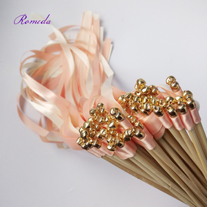 Image 4 - Hot selling 50pcs/lot coral and champagne wedding ribbon wands with gold bell  ribbon Twirling Streamers wedding ribbon stick