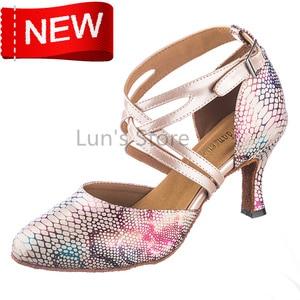 New Sexy Snakeskin Closed Toe Dance Shoe Ballroom Salsa Latin Tango Bachata Dancing Shoes Closed Toe Salsa Dance Shoes