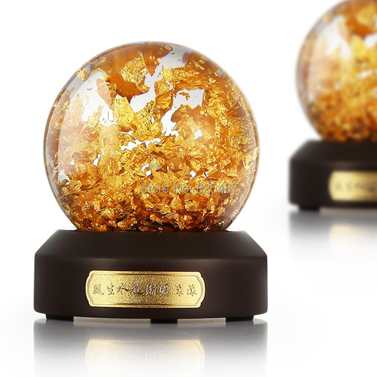 Luxury 24K Gold Flakes Snow Ball Glass Feng Shui Ball Best Wealthy Business Gift Taiwan Made Glass Globe With Gift Box glass ball