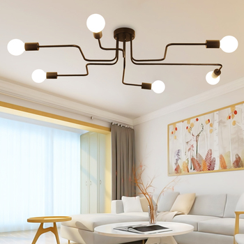 Industrial Loft Ceiling Light Nordic Iron Led Ceiling Lamps 4/6/8 Head Ceiling Lamp For Dinning Room Coffe Bar Cafe