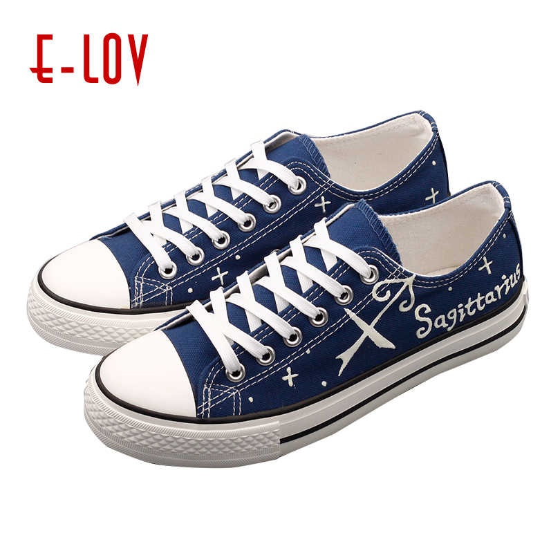 7837ade886d E-LOV Sagittarius Constellation Unisex Canvas Print Shoes Rubber Insole  Greek Characters Graffiti Print Flats