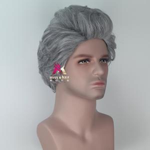 Image 3 - Miss U Hair peluca fiesta de Halloween para hombre, pelo sintético, gris, ondulado