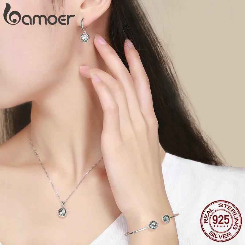 BAMOER authentique 925 en argent Sterling ensembles arbre de vie vert cristal AAA CZ bijoux ensemble en argent Sterling bijoux cadeau ZHS053 - 3
