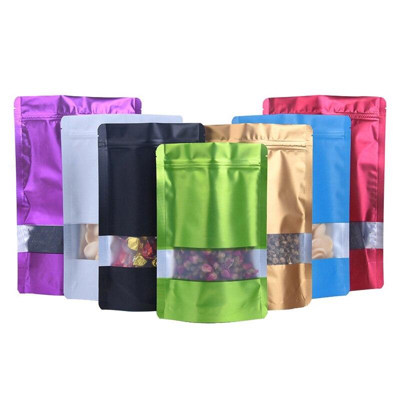 1000 stks/partij Kleurrijke Doypack Aluminiumfolie Plastic Zip Lock Pakket Tas met Venster Mylar Verkoopt Rits Zakje voor Voedsel Opslag-in Opbergtassen van Huis & Tuin op  Groep 1