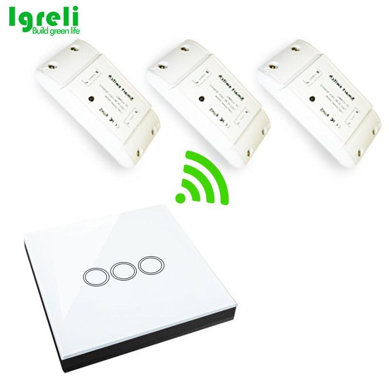 Igreli 3 pièces récepteur sans fil et trois boutons tactile télécommande bâton interrupteur pour lampe à LED AC 90-250 V & rf 433 MHZ