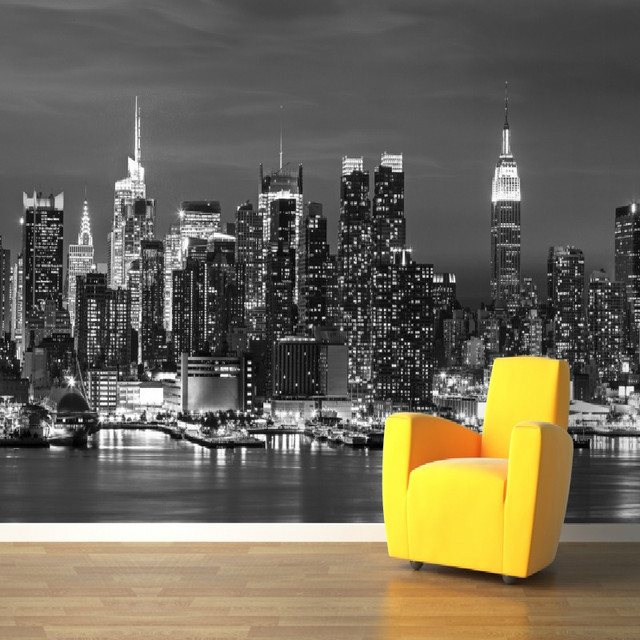 3d papier peint pour mur 3d mural new york paysage photo for Chambre de commerce new york
