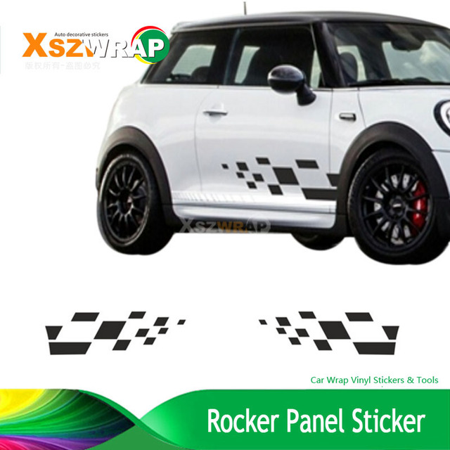1pair Square Side Stripes Decals Cooper Mini Classic S Works Clubman