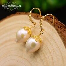 XlentAg Original Natural Fresh Water Baroque Pearl Drop Boho Earrings For Women Gifts Dangle Jewelry Brincos GE0582