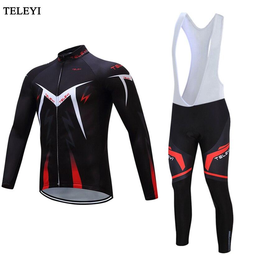 TELEYI nouveaux hommes en plein air 2017 à manches longues cyclisme Jersey vélo Jersey bavoir pantalon Cycle vêtements Sportswear Quk sec équitation vêtements