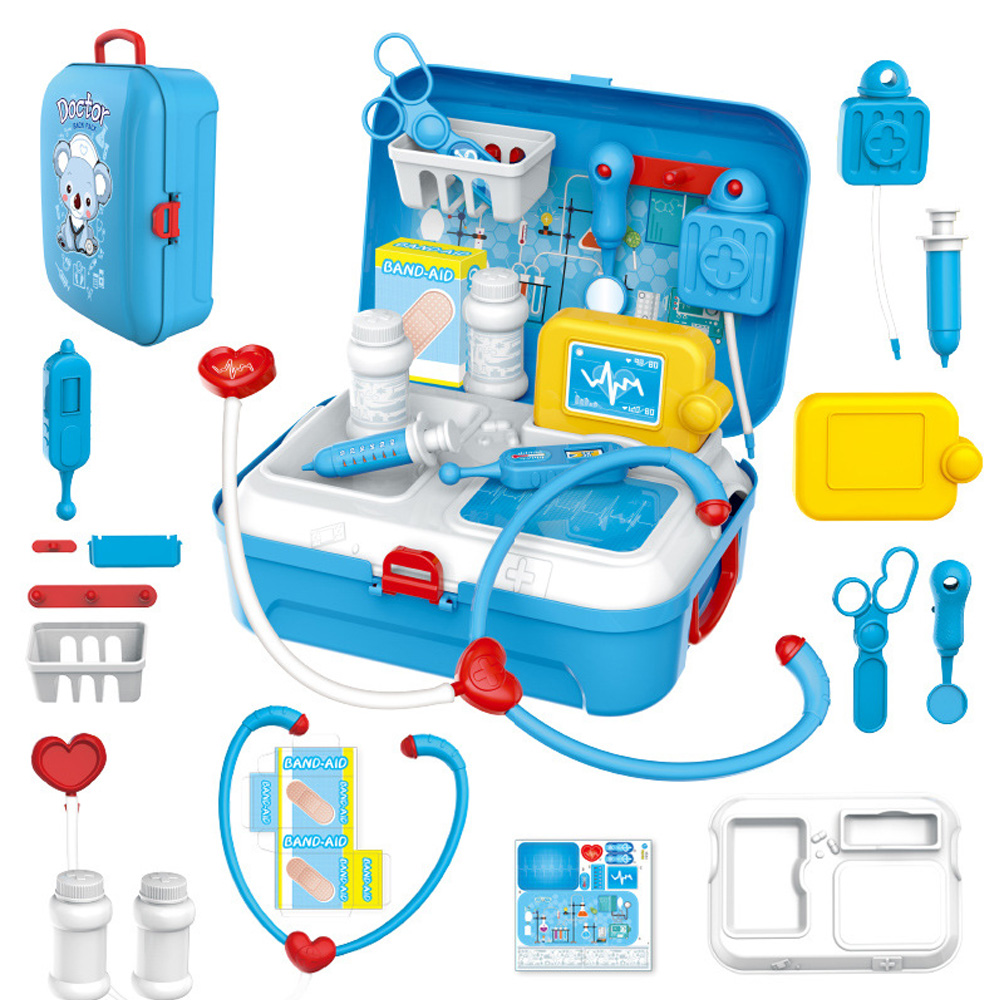 17PCS Children Pretend Play Doctor Toy Set Nurse Injection Tool Portable Suitcase Simulation Medical Kit Kids Role Play Toys