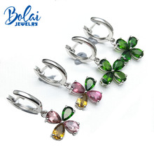 Bolai natural tourmaline diopside dangle flower earrings 925 sterling silver multi color gemstone jewelry 2019 womens earring
