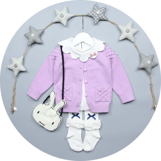 Calor! 2016 bebê princesa camisola bonito vestido da menina inverno camisola casaco cardigan de algodão camisola handmade 100% crianças