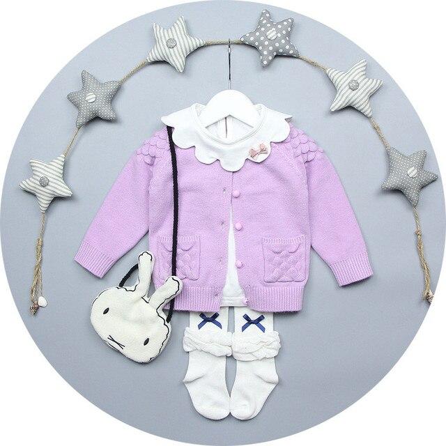 Heat! 2016 baby princess sweater beautiful girl dress winter sweater cardigan jacket cotton handmade sweater 100% children