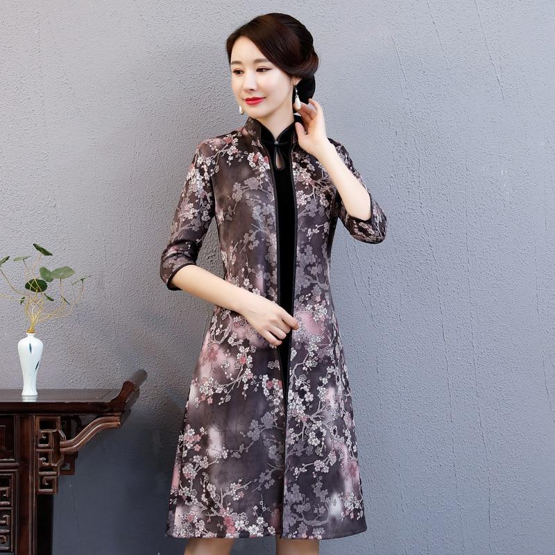 Female 2pcs Cheongsam Winter New Women Vintage Improved Flower Qipao Traditional Elegant Lady Gold Velvet Warm Party Dress