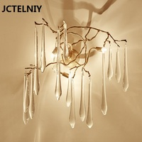 Living room background wall branches French tv wall ofhead american style copper crystal wall lamp