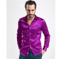 new Men's shirts Fashion Shiny Silky Satin Dress Shirt Luxury Silk Like Long Sleeve Mens Casual Shirts Performance wear