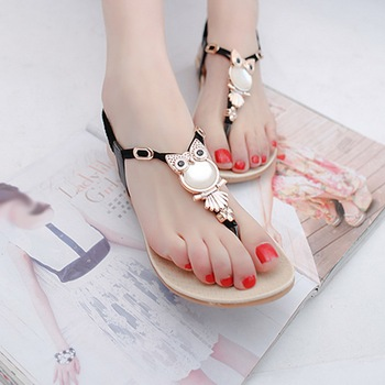 Summer Women Sandals Elastic Strap  Flat Sandal Beaded Owl Slipper Women Beach   Size 35-42 1