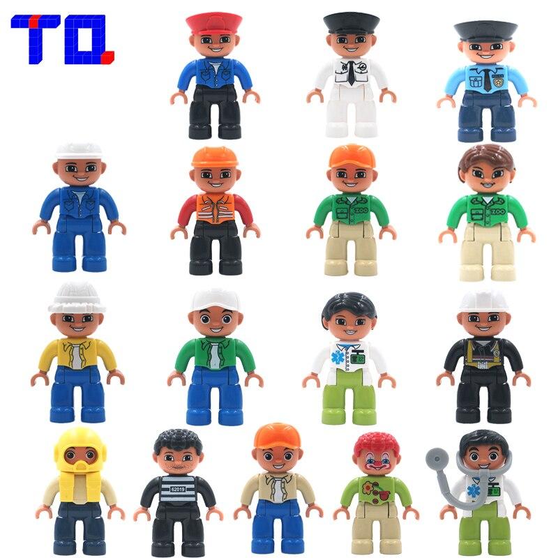 TQ City Series Policeman/Thief/Doctor/Engineer/Nurse etc. Figure Large Particle Building Blocks Toy Compatible with Legoe Duplo