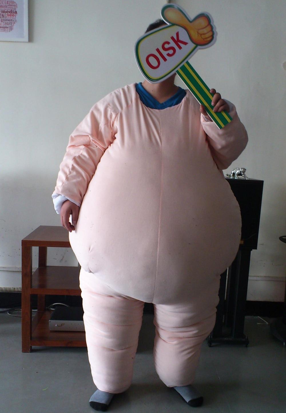 Personnalisé mâle Graisse Costume Rembourrage Costume De Mascotte Animale Costume Halloween De Noël D'anniversaire Plein Corps Soutiens Costumes Outfit