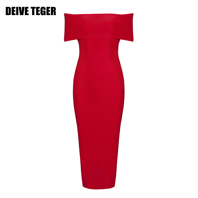 DEIVE TEGER  woman  dress solid  sexy elegant red and pink 4 colors slash neck Vestidos party pencil  dress HL1996
