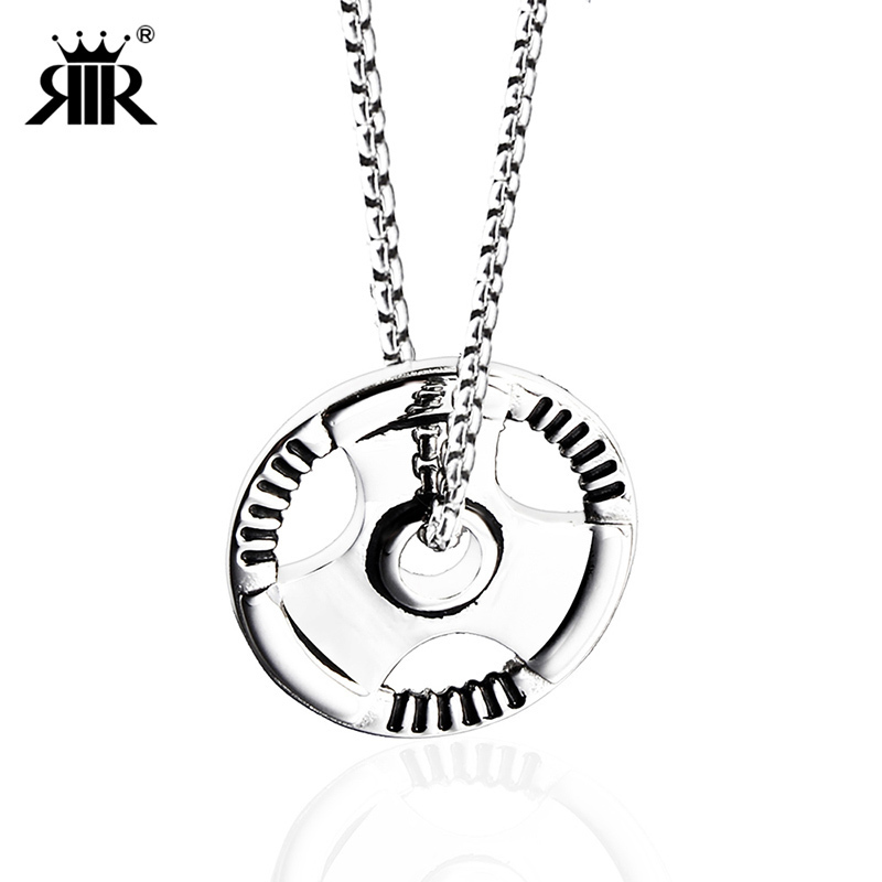 RIR brand Men Weight Plate Barbell Dumbbell Pendant Chain Weightlifting Bodybuilding Fitness Cross Fit Gym Exercise Necklace