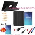 360 Вращающийся Личи кожа Кожа case capa para для Samsung galaxy Tab E 8.0 SM-t377V Tablet cover case + film + стилус + OTG