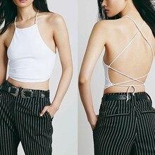 Sexy verano espalda descubierta Cami Halter Crop Top mujer Bustier Bralette  chaleco negro blanco  22c92b0c5e57