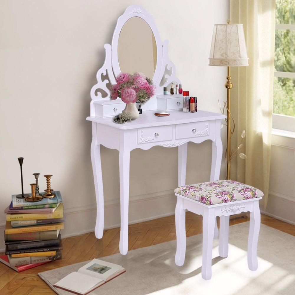 Giantex White Vanity Wood Makeup Dressing Table Stool Set with Mirror&4Drawers&Rose Cushion Bedroom Modern Dresser Table HW55562 ...