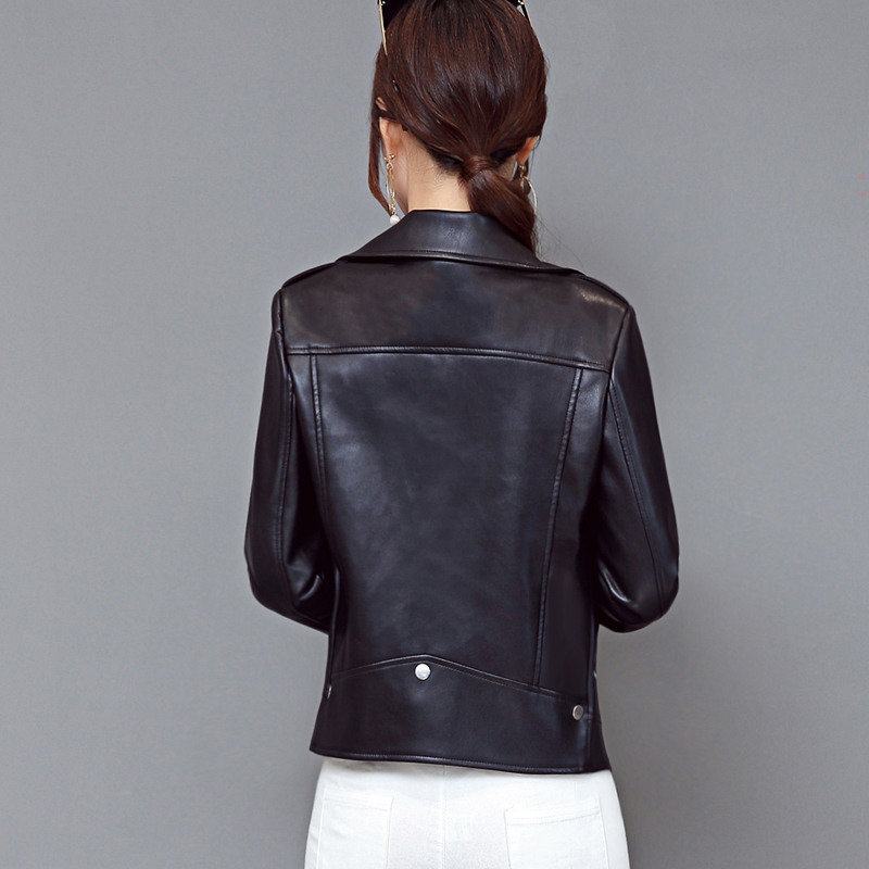 2019 Spring Autumn New Women Soft PU Leather Jacket Slim Short Motorcycle Jackets Lady Rivet Zipper Black Large size Outerwear in Leather Jackets from Women 39 s Clothing