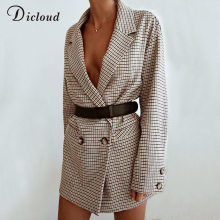 Dicloud Blazer Dress Jacket Wrap Bodycon Oversized Streetwear Long-Sleeve Plaid Elegant