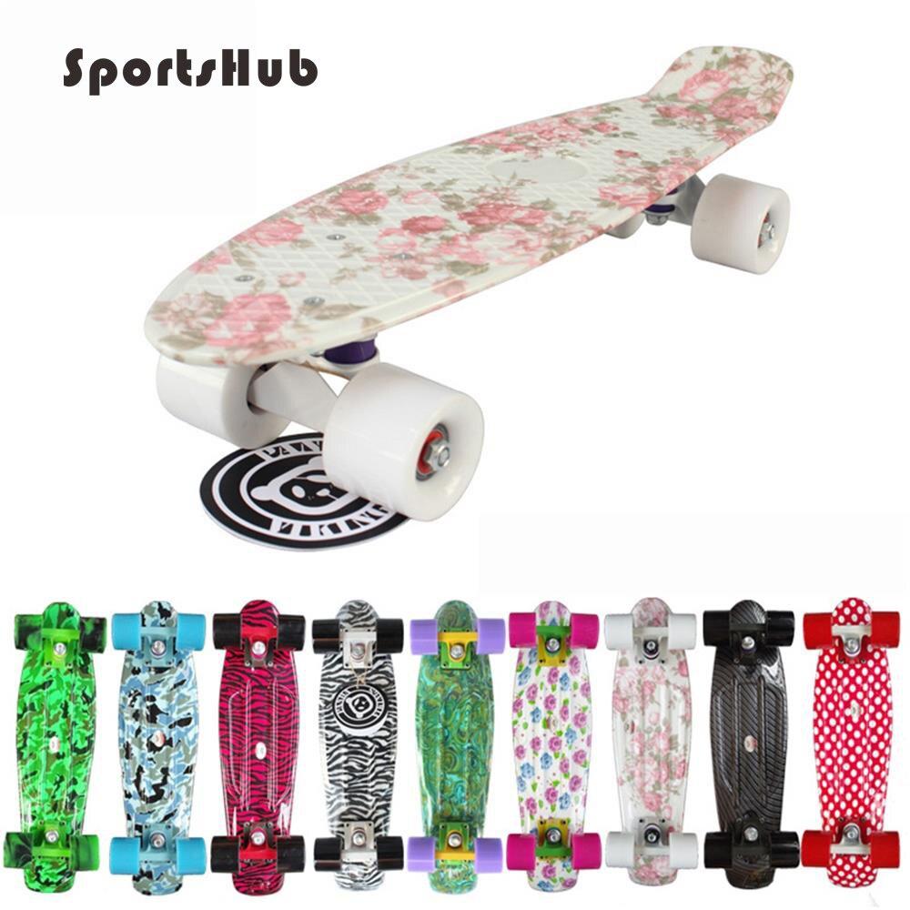 SPORTSHUB 22 pouces Rétro Classique Cruiser Style Complete Skateboard Pont En Plastique Mini Skate Board pour Adultes ou Enfants CS0002