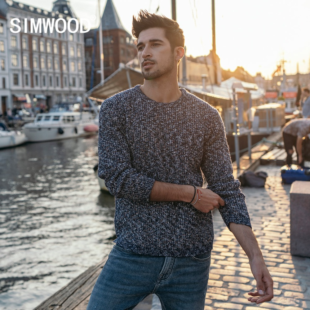 SIMWOOD Mix Cashmere Sweater Men Heathered Color Design Spring Winter New Sweaters Warm Pullover Plus Size Brand Clothing 180553
