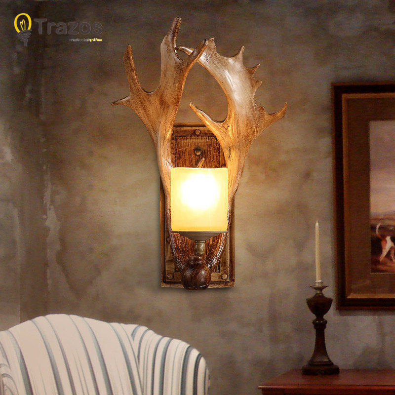 Christmas party Wall Lamp for LED home decoration corridor lamp lampada de parede wood Antlers balcony indoor lighting hot sell sports series 2014 brazil world cup football 3d wall lamp amazing room decoration light lampada de parede xmas gift