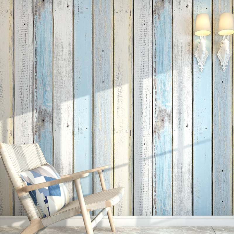 Blue Stripe Wallpaper Modern Mediterranean Style Wood Board Wall Paper Living Room TV Sofa Bedroom Dining Room Backdrop Wall 3 D mediterranean style sky blue wallpaper modern pure color wall paper roll for bed room livingroom