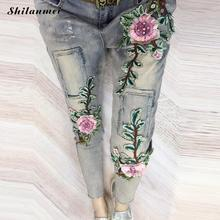 Vintage flower embroidery jeans female Pockets straight jeans women bottom Light blue casual pants capris summer 2017