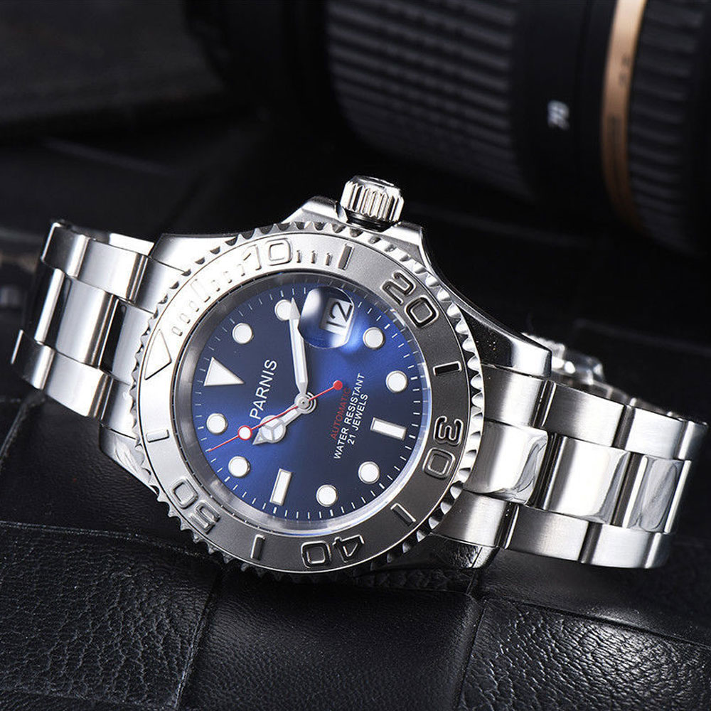 41mm Parnis blue dial ceramic bezel Luminous markers Sapphire glass date adjust 21 jewels miyota Automatic movement Men's Watch 41mm parnis blue dial ceramic bezel stainless steel sapphire glass date adjust 21 jewels miyota automatic movement men s watch