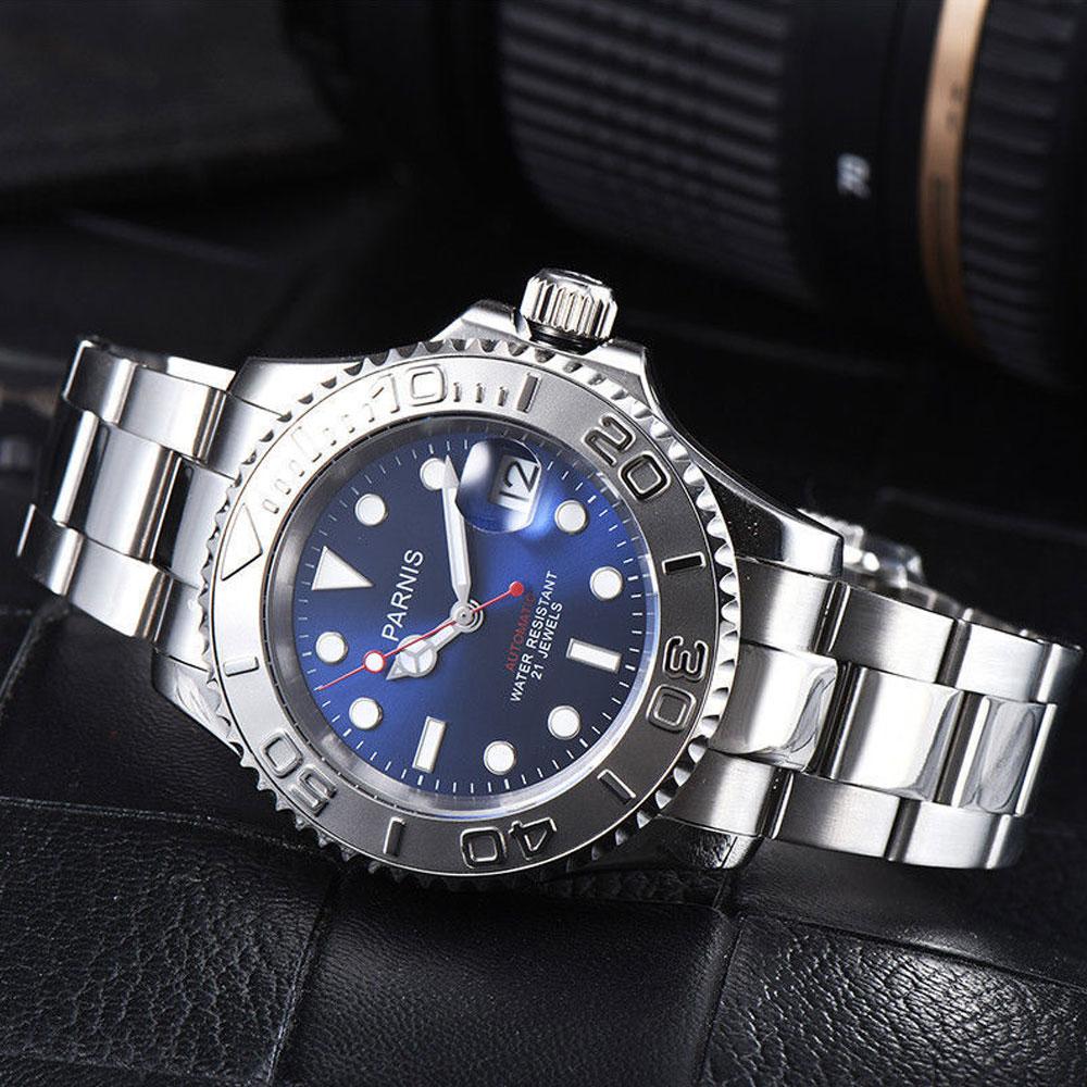41mm Parnis cadran bleu céramique lunette lumineuse marqueurs verre saphir date ajuster 21 bijoux miborough mouvement automatique montre pour hommes