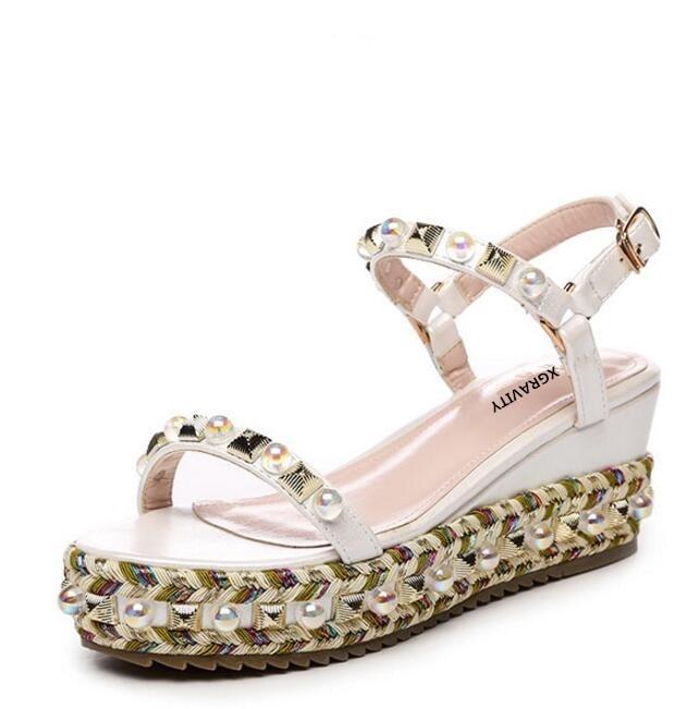 Xgravity新しい2018レディーファッション高ヒール6センチプラットフォーム靴ウェッジサンダルエレガントパールデザイナー女性夏の靴サンダルb28  グループ上の 靴 からの ハイヒール の中 2