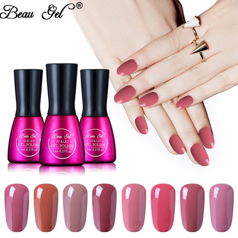 Beau Gel 7ML UV Gel Nail Polish Nude Color Nail Gel Polish Vernis Semi Permanent Top Base Coat Hybird Barniz Gel Lak Lac