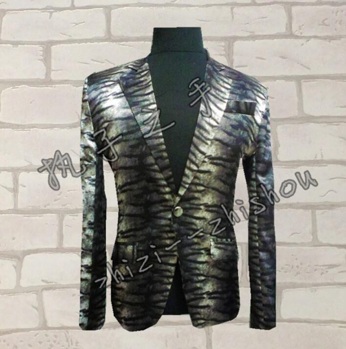Men Leopard Suits Designs Homme Terno Stage Costumes For Singers Men Sequin Blazer Dance Clothes Jacket Style Dress Punk Rock