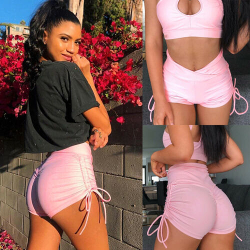 Women Solid High Waist Summer Shorts Sports Gym Fitness Running Butt Lift Shorts Workout Beach Elastic Short Trouser 2019