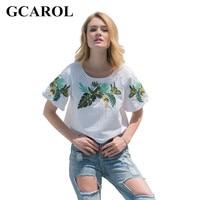GCAROL 2017 Women Embroidery Leaf Cropped Tees Euro Style Oversize T Shirt Stretch Summer Basic